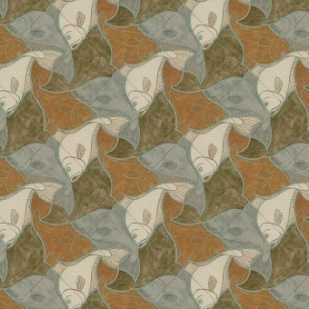 Fish Wallpaper Orange/Green M.C. Escher