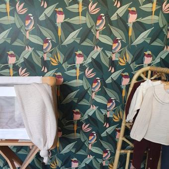 Birds Wallpaper Green Studio Ditte