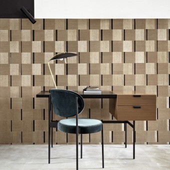 Sisal Carré Wall Covering Beige Or CMO Paris