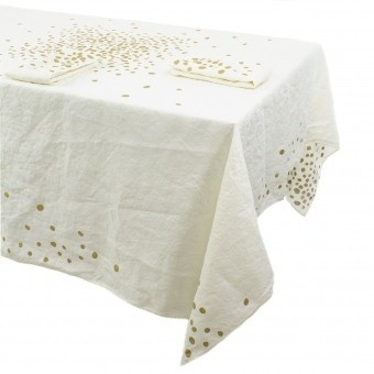 White Golden Pepite Tablecloth 175x175 cm Bertozzi