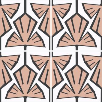 Végétal cement Tile Blanc/Noir Beauregard Studio