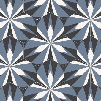 Kaléidoscope cement Tile Blanc/Noir Beauregard Studio