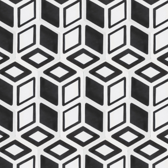 Hexagone n°2 cement Tile Blanc/Noir Beauregard Studio