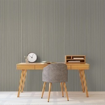 Thin lines Wallpaper Grey/Off White Ferm Living