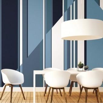 Pinwheel Stripe Panel Blue York Wallcoverings