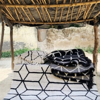 Geometrisk Black Rug 140x200 cm Brink & Campman