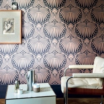 Lotus Wallpaper Off black Farrow and Ball
