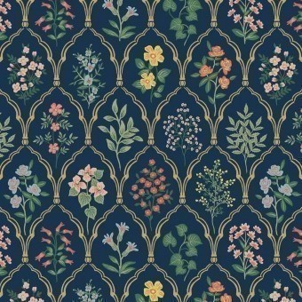 Hawthorne Wallpaper Navy/Multi Rifle Paper Co.
