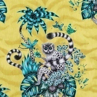 Lemur Fabric Lime Clarke and Clarke