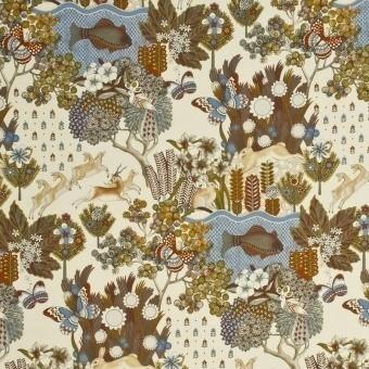 Tissu Glendale Camel/Sky Mulberry