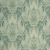 Tissu Heirloom Paisley Aqua/Leaf Mulberry