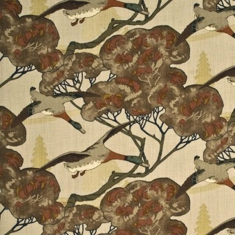 Tissu Flying Ducks Camel/Grey Mulberry