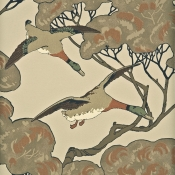 Papier peint Flying Ducks Aqua Mulberry
