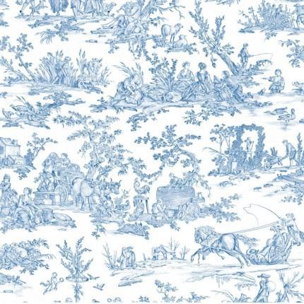 Tissu Délices des Quatre Saisons Toiles de Jouy Bleu Clair 140210/31 Toiles de Jouy