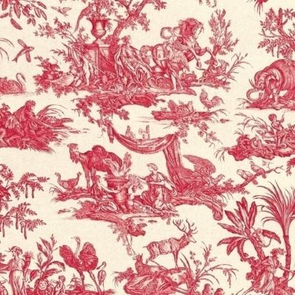 Tissu Les Quatre Parties du Monde Toiles de Jouy Rouge 120310/08 Toiles de Jouy