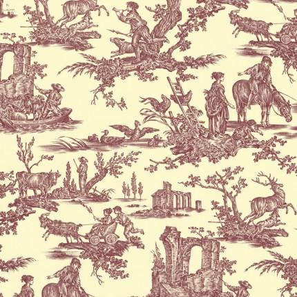 Tissu Les Plaisirs de la Campagne Toiles de Jouy Cassis 165810/287 Toiles de Jouy