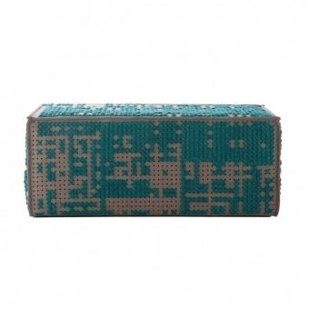 Modular Abstract Pouffe Charcoal Gan Rugs