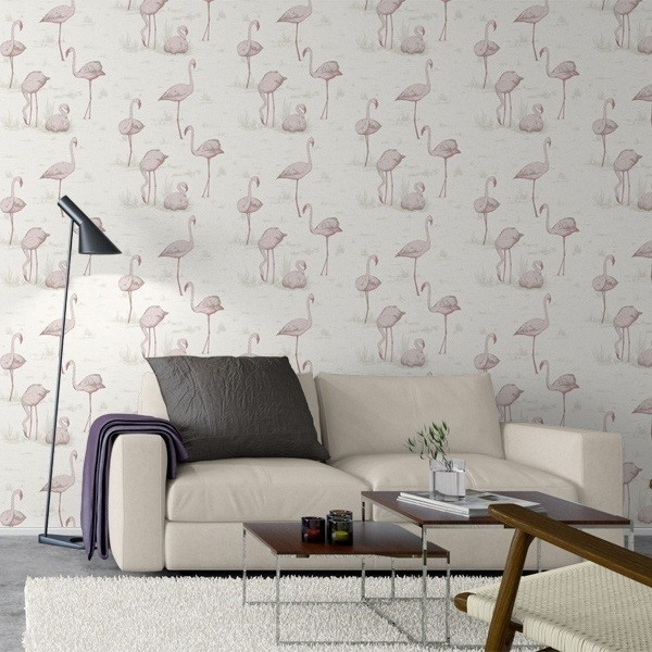papier peint flamingos restyled cole and son. Black Bedroom Furniture Sets. Home Design Ideas