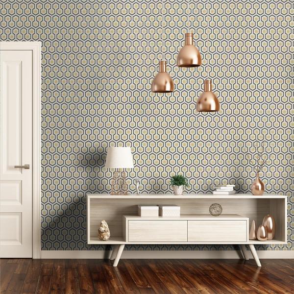 Papier peint hicks 39 hexagon cole and son - Papier peint ontwerp contemporain ...