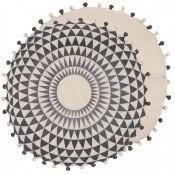 Coussin Concentric Linen Slate/Linen Niki Jones