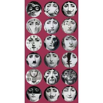 Papier peint Tema e Variazione Fornasetti Cole and Son Grenat Grenat Cole and Son