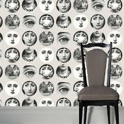 piero fornasetti papier peint fornasetti plates wallpaper fornasetti plate grey white men. Black Bedroom Furniture Sets. Home Design Ideas
