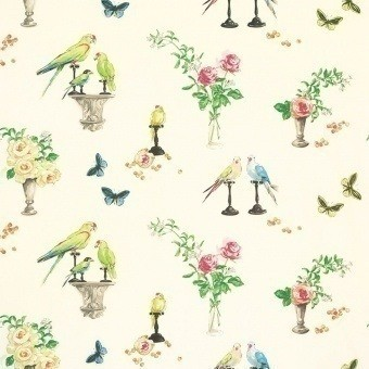 Tissu Perroquet Beige Nina Campbell