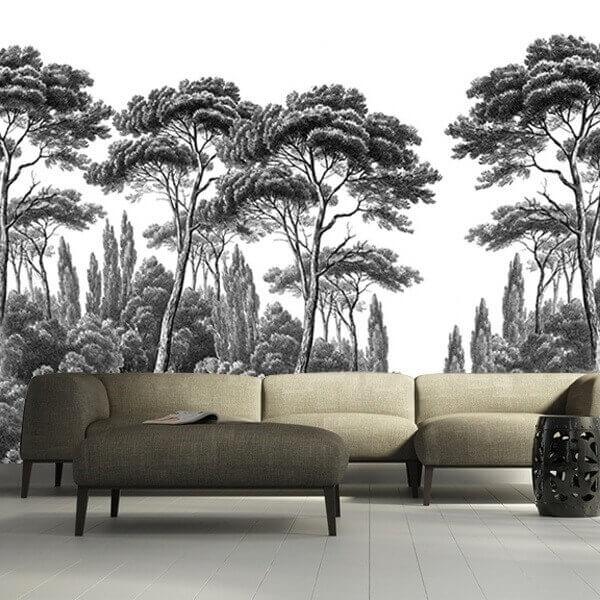 papier peint pins et cypres 1 ananb. Black Bedroom Furniture Sets. Home Design Ideas