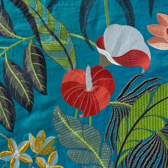 Hibiscus Embroidered Embroidered Fabric Exotique Nobilis