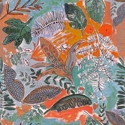 Tissu Jungle Lalie Design Orange TI JUNGORA Lalie Design