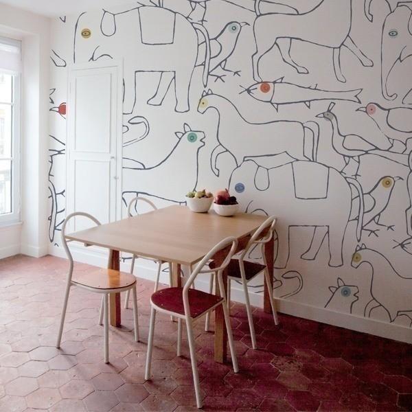 papier peint animals minakani lab. Black Bedroom Furniture Sets. Home Design Ideas