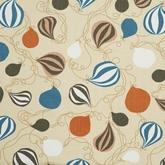 Balloons Fabric Gray/Orange Littlephant