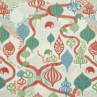 Saga Forest Fabric Black/Multi Littlephant