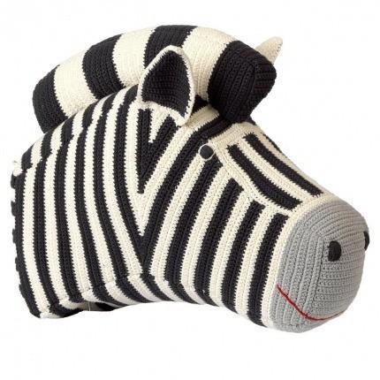 Tête de Zèbre en crochet Anne-Claire Petit Charcoal Zebra-Head-305-012-011 Anne-Claire Petit