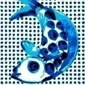 Papier peint Fish and Dots Bleu/Blanc NLXL by Arte