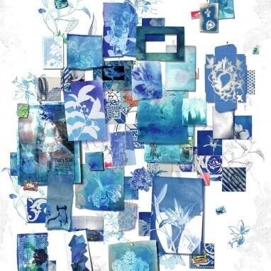 Papier peint Follete Bleu de roi Christian Lacroix