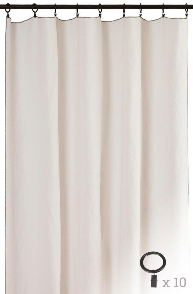 panneau cap ferret anneaux noirs toiles de mayenne. Black Bedroom Furniture Sets. Home Design Ideas