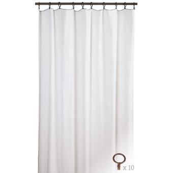 Porquerolles anneaux rouille Curtain Blanc Toiles de Mayenne