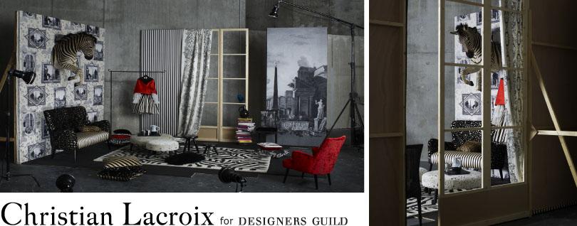 Christian Lacroix pour Designers Guild, tissus d'ameublement, coussins et tapis