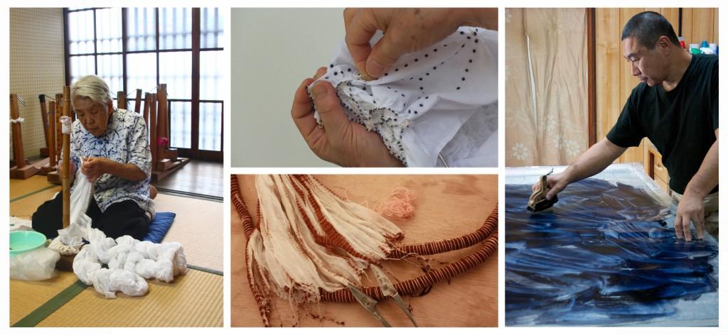 Suzusan perpétue la tradition du Shibori, une technique artisanale de teinture textile