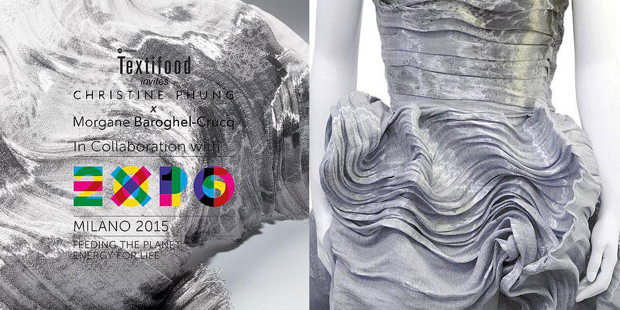 Exocet Dress présentée à l'exposition Textifood à l'initiative du collectif Lille 3000 lors de l'exposition universelle de Milan. Toute en volume, elle est notamment composée de fibres de collagène de poisson