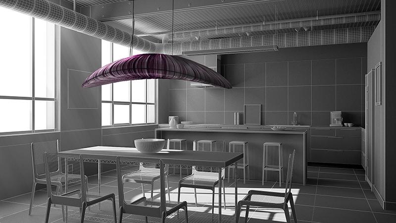 Projection de la suspension en soie Liana S. coloris Dark dans l'intérieur en trois dimensions