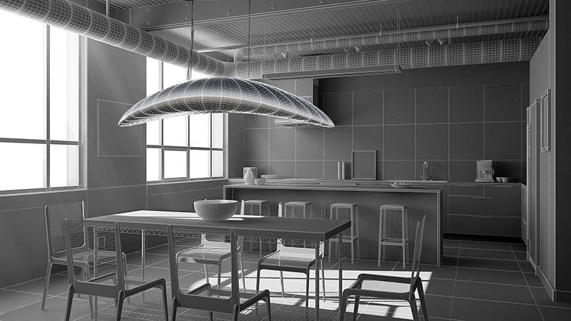 Projection du luminaire Liana S. dans le modèle en trois dimensions d'un intérieur