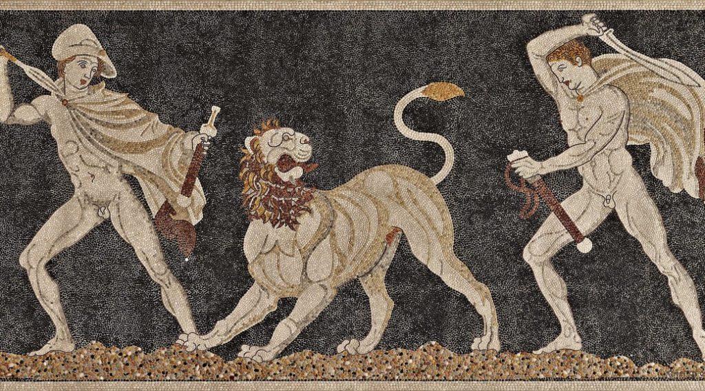 Chasse au lion asiatique sur une mosaïque de Pella qui représenterait Alexandre le Grand et son compagnon Cratère